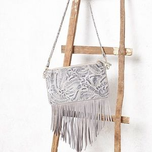 Free People Tooled Embroidered Fringe Crossbody